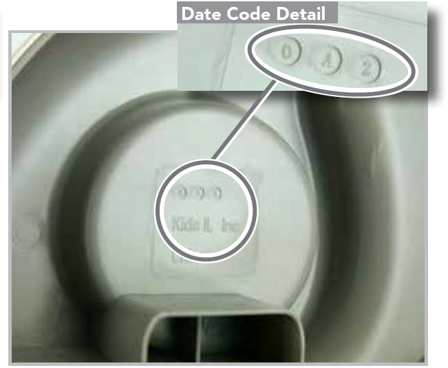 Date code Bright Starts Chair Top HIgh Chair Tray