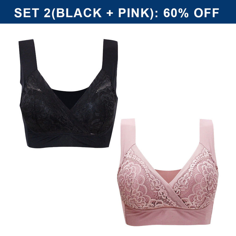 Plus Size Comfort Extra Elastic Wireless Support Lace Bra (From M to 5XL)
