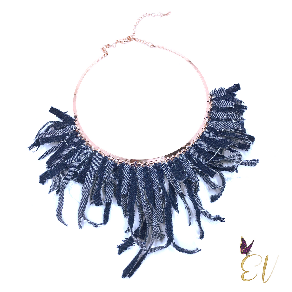 Denim Necklace, Denim Collar Necklace with Denim Tassels - Empress of Virtue