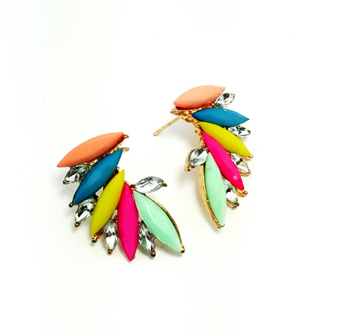 Fiery Curve Multicolor Earrings