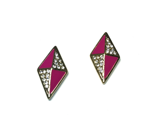 Pink and Crystals Diamond Shaped Earrings