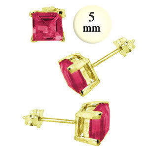 Garnet  Princess Cut Studs