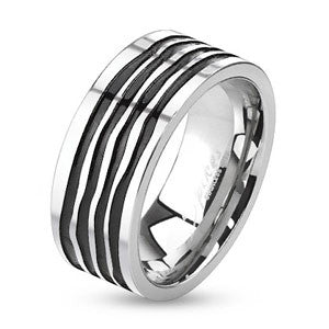 Wavy Groove Stainless Steel Ring - Empress of Virtue