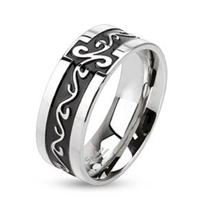 Tribal Swirl Stainless Steel Ring