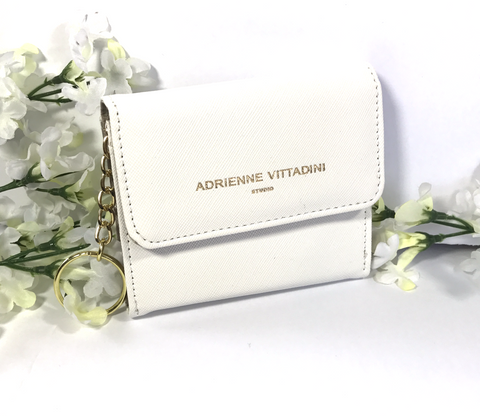 Adrienne Vittadini Small Keychain Purse/Wallet (White)