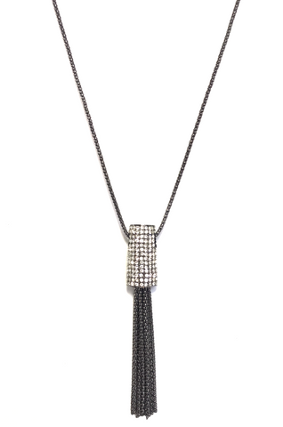 Black Metallic Tassel Pendant Necklace