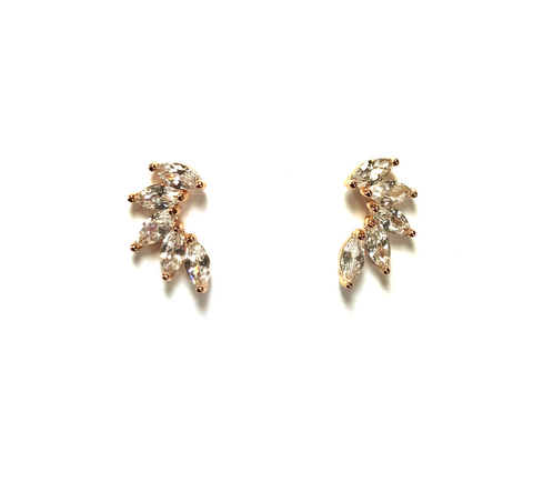 Cubic Zirconia Leaf Ear Curve Stud Earrings