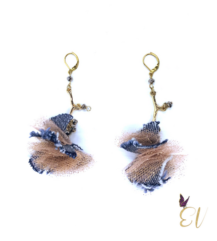 Denim Earrings, Denim Pom Pom Earrings