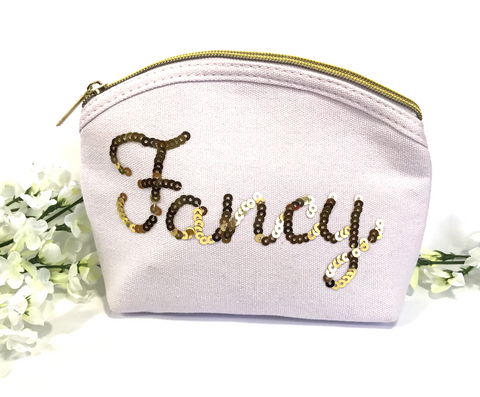 Fancy Gold and White Makeup Up Bag
