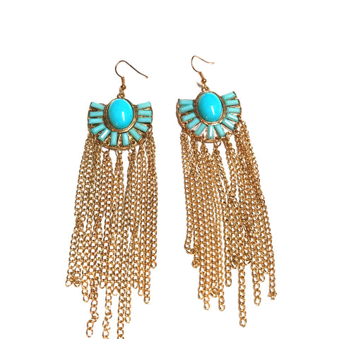 Egyptian Chain Tassel Earrings