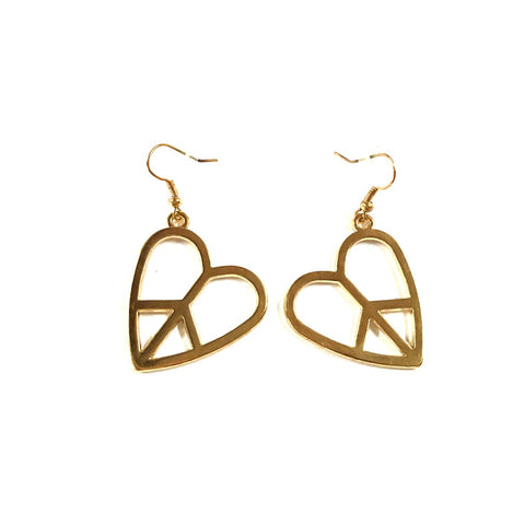 Heart Peace Sign Earrings