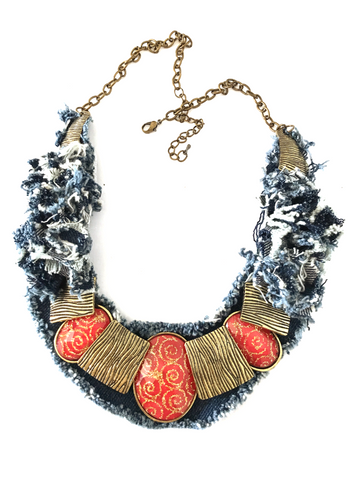 Denim Necklace, Denim Wonder Collar Necklace.
