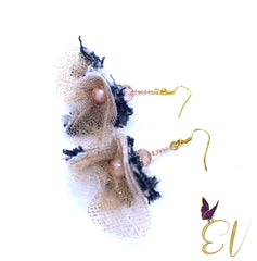 Denim Earrings, Gazelle Blush Pink Denim Earrings - Empress of Virtue