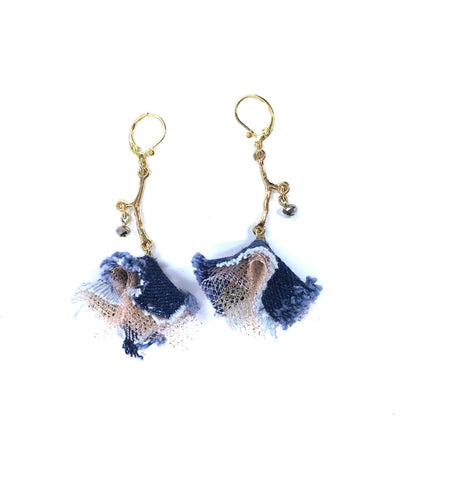 Denim, Earrings, Gold Vine Denim Earrings