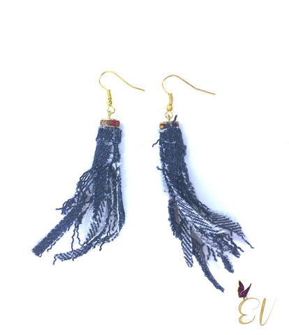 Denim Earrings, Denim Tassel Earrings