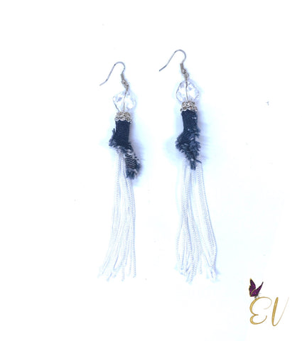 Denim Earrings, Denim and Tassels Earrings