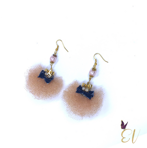Denim Earrings, Denim Tulle Fan Earrings