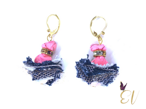Denim Earrings, Pink Semi-Precious Stone Denim Earrings
