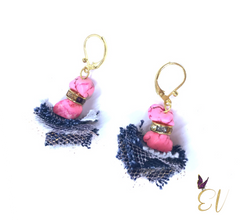Semi- Precious stones are always stunning and brings a natural element to any jewelry and accessories. With utter delight I made these Denim earrings with pink semi-precious stones, blush tulle, and pearls. Pink Semi-Precious Stone Denim Earrings are perfect for dressing up or dress it down, wear it every day or for a special occasion, they are the perfect transitional denim earrings. ?  **Along with all my other original designs and handmade denim earrings in this collection these Pink Semi-Precious Stone