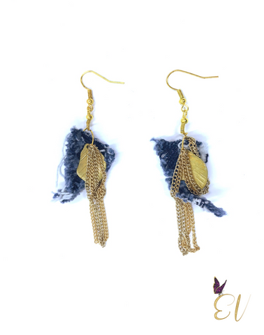 Denim Earrings, Denim Leaf Casual Shabby Geo Earrings