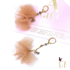 Rose Gold Tulle Pom Pom Earrings - Empress of Virtue
