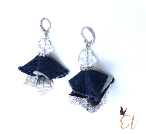 Denim Earrings, Denim and Silver With Clear Bead Earrings