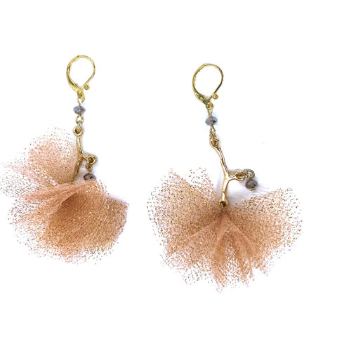 Rose Gold Tulle Pom Pom Earrings