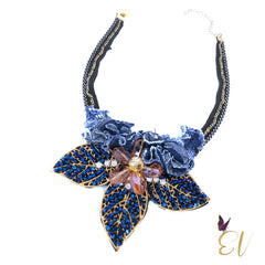 Denim Necklace, Denim Star Collar Necklace - Empress of Virtue