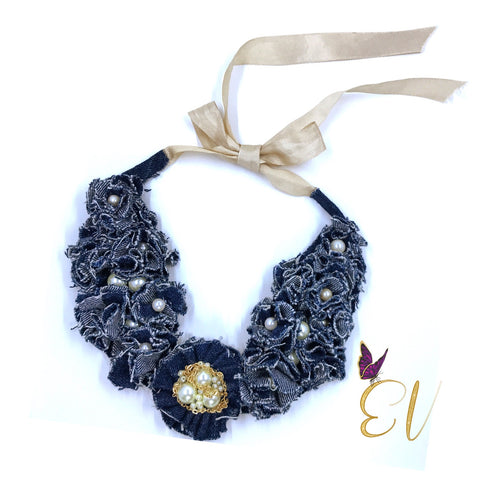 Denim Collar Necklace, Denim Beige Collar Necklace, Original Design and Handmade By Empress of Virtue