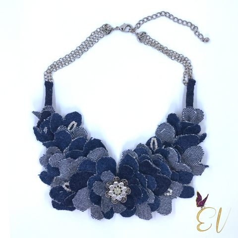 Denim Necklace, Denim Dahlia Necklace
