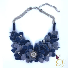 Denim Necklace, Denim Dahlia Necklace - Empress of Virtue