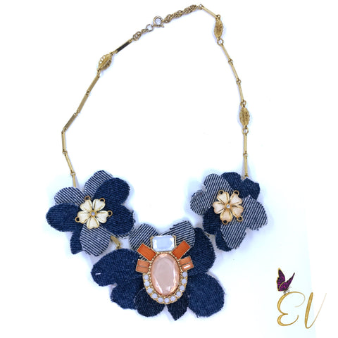 Denim Necklace, Phlox Denim Necklace