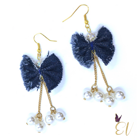 Denim Bow Earrings