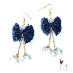Denim Bow Earrings - Empress of Virtue