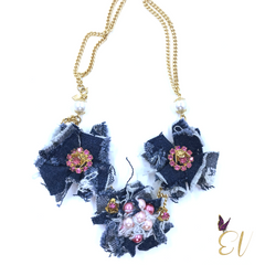 Denim and Pearl Denim Necklace - Empress of Virtue