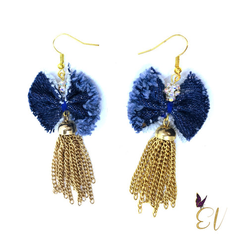 Denim Bow and Tassels Earrings