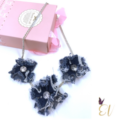 Denim Necklace With Zircon Gem - Empress of Virtue
