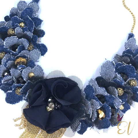 Denim Collar Necklace with Gold Chain Tassels,