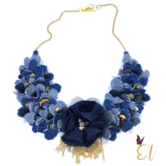 Denim Collar Necklace with Gold Chain Tassels, - Empress of Virtue