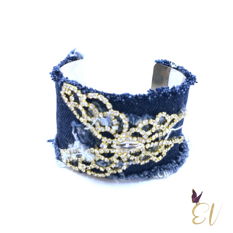 Denim Butterfly Cuff Bracelet