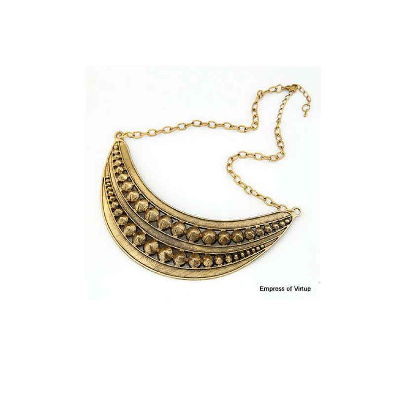 Studded Crescent Moon Statement Necklace