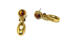Antique Gold Amber Falls Earrings in antique gold with amber-autumn gem posts.