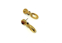 Antique Gold Amber Falls Earrings in antique gold with amber-autumn gem posts. Amber Falls Earrings - Empress of Virtue
