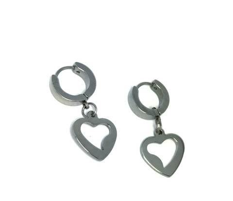 Stainless Steel Heart Charm Earrings