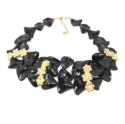 Chic Black and Gold Flower Statement Necklace