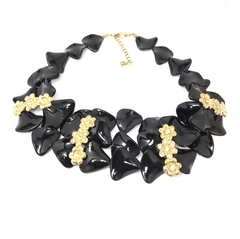 Chic Black and Gold Flower Statement Necklace - Empress of Virtue