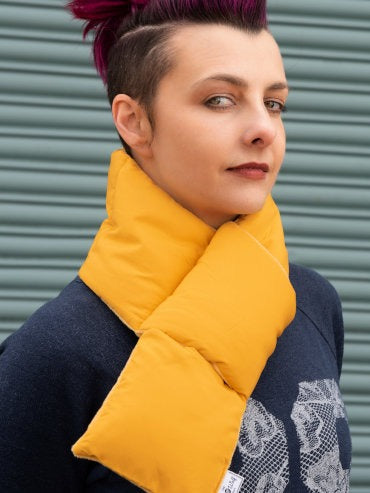 Yellow Puffer Scarf With Pocket