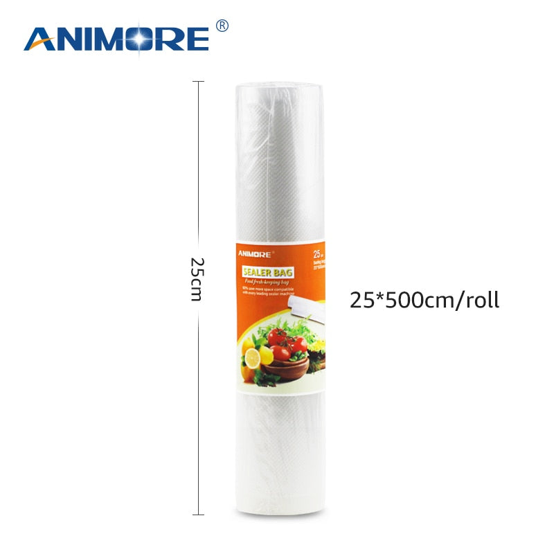 ANIMORE Household 25cm x 500cm 1 Roll Vacuum Food Bag for Kitchen Vacuum Plastic Storage Bags Food Fresh Long Keeping Saran Wrap