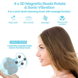 ANIMORE Silicone Face Cleansing Brush Rotating Magnetic Beads Deep Cleaning Face Spa Rechargeable Waterproof Facial Cleaner