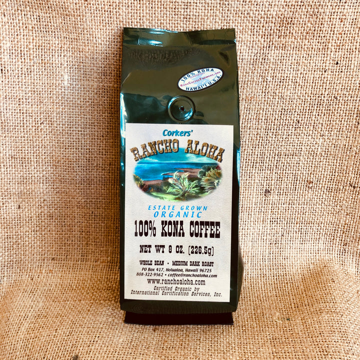 Rancho Aloha's 100% Kona Coffee, Medium Dark Roast, Organic, Estate grown cofee